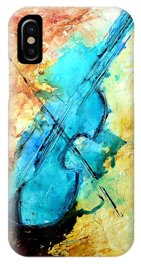 Music IPhone X Case featuring the mixed media Blue notes by Ivan Guaderrama