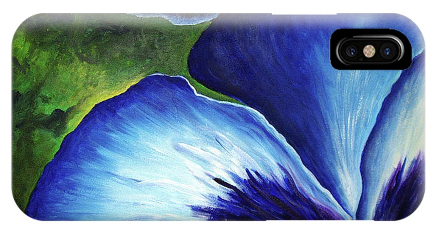 Pansy IPhone X Case featuring the painting Blue Pansies by Nancy Mueller