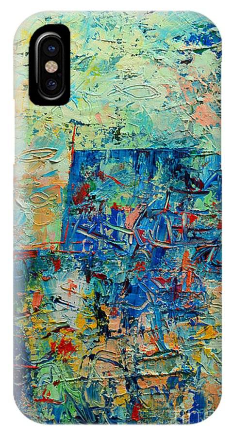 Blue IPhone X Case featuring the painting Blue Play 1 by Ana Maria Edulescu
