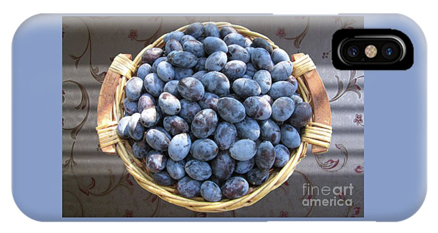 Plum IPhone X Case featuring the photograph Blue Plums by Mira Ostojic