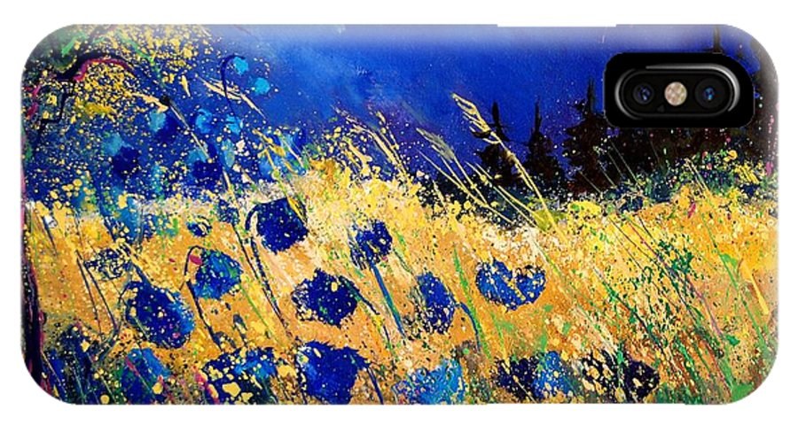 Flowers IPhone X Case featuring the painting Blue Poppies 459070 by Pol Ledent
