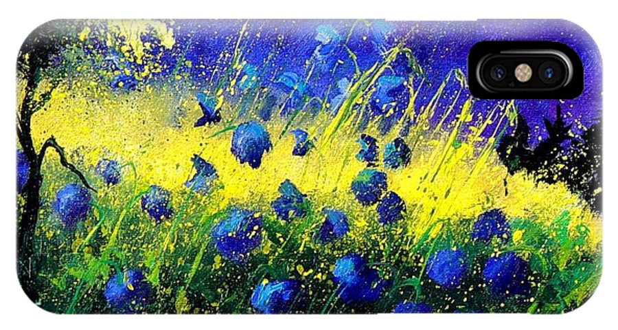 Flowers IPhone X Case featuring the painting Blue Poppies by Pol Ledent
