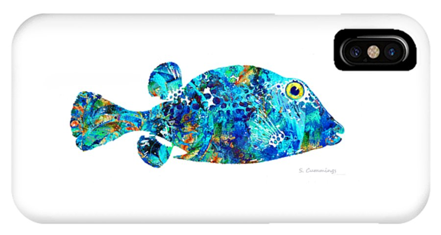 Fish IPhone X Case featuring the painting Blue Puffer Fish Art By Sharon Cummings by Sharon Cummings