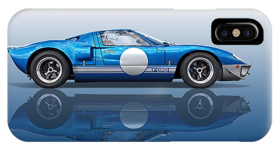 Ford Gt40 IPhone X Case featuring the photograph Blue Reflections - Ford Gt40 by Gill Billington