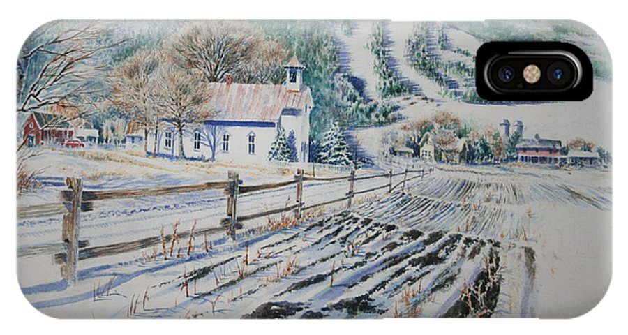 Landscape IPhone Case featuring the painting Blue Ridge Church by Tom Harris