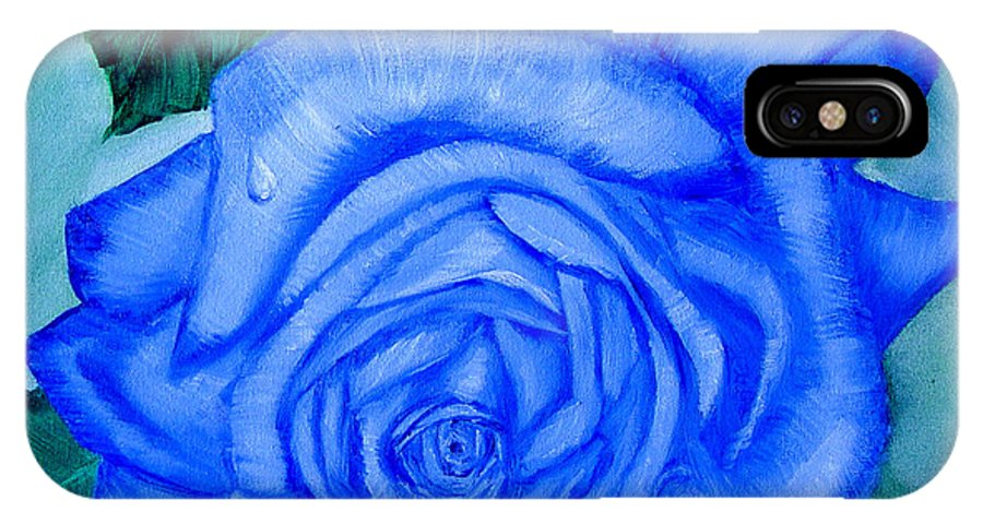 Rose IPhone Case featuring the painting Blue Rose by Quwatha Valentine