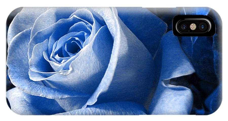 Blue IPhone X Case featuring the photograph Blue Rose by Shelley Jones