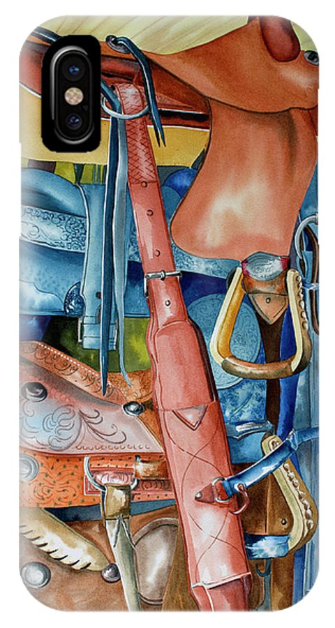 Blue Saddle Painting IPhone Case featuring the painting Blue Saddle by Kandyce Waltensperger