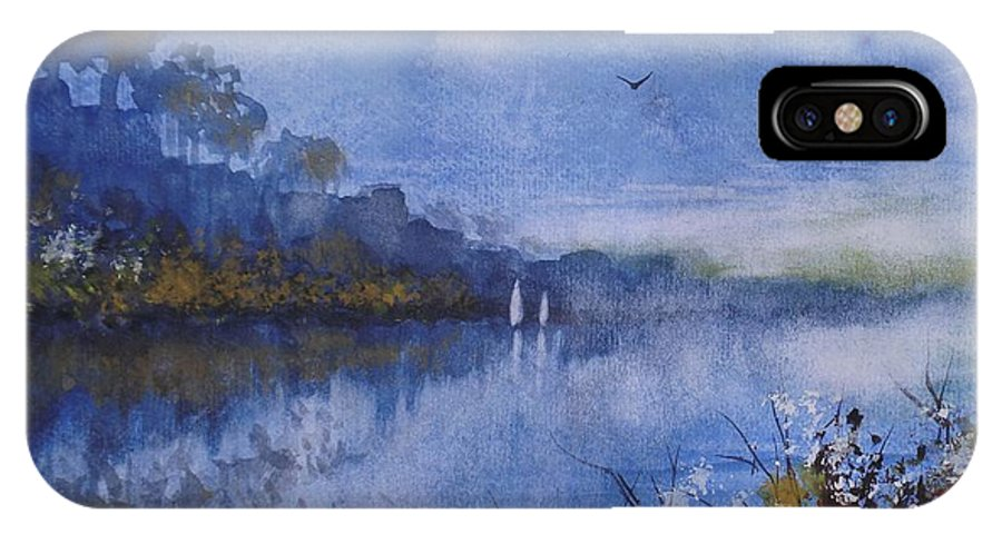 Sailing IPhone X Case featuring the painting Blue Sail, Watercolor Painting by David K Myers