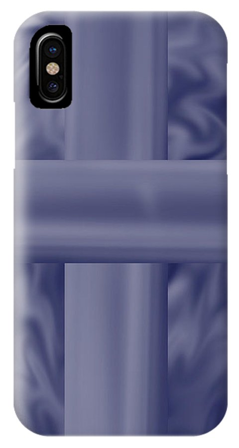 Blue IPhone X Case featuring the painting Blue Satin Cross by Anne Norskog