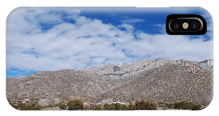 Sandia Mountains IPhone Case featuring the photograph Blue Skys Over The Sandias by Rob Hans