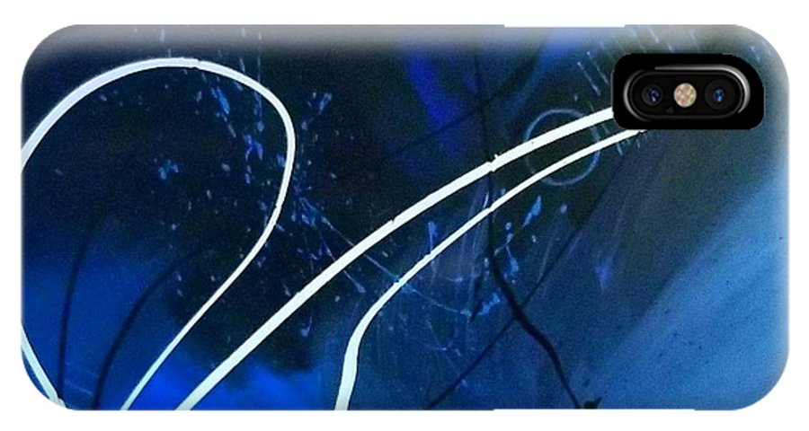 Blue And Black Abstract Art IPhone X Case featuring the painting Blue Speed by Keeops