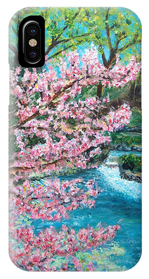 Blue Spring IPhone X Case featuring the painting Blue Spring by Carolyn Donnell