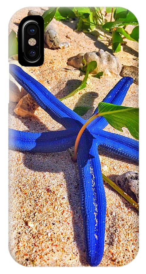 Blue IPhone X Case featuring the photograph Blue Starfish by Jade Phoenix
