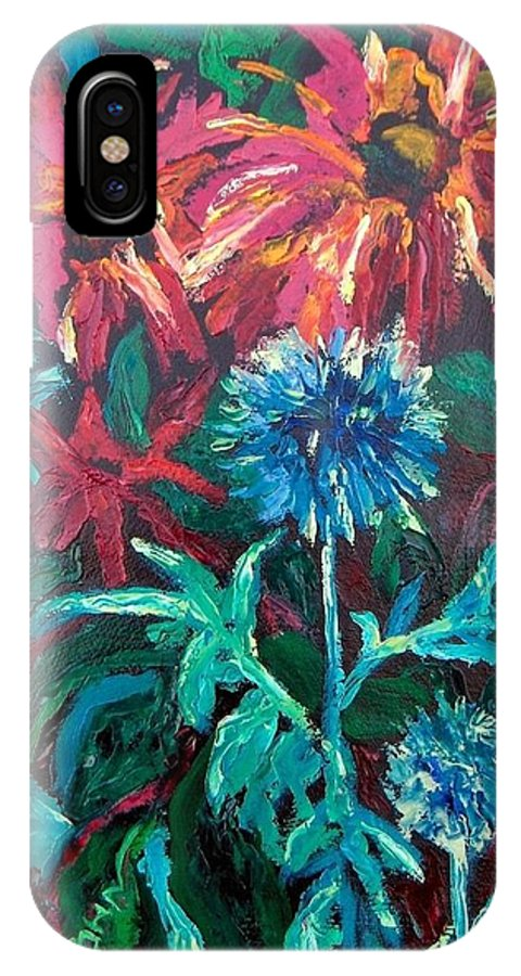 Red IPhone X Case featuring the painting Blue Thistle And Bee Balm by Susan Spohn
