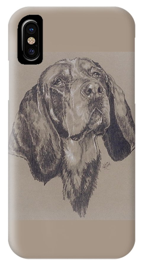 Purebred IPhone X Case featuring the drawing Blue Tick Coonhound by Barbara Keith