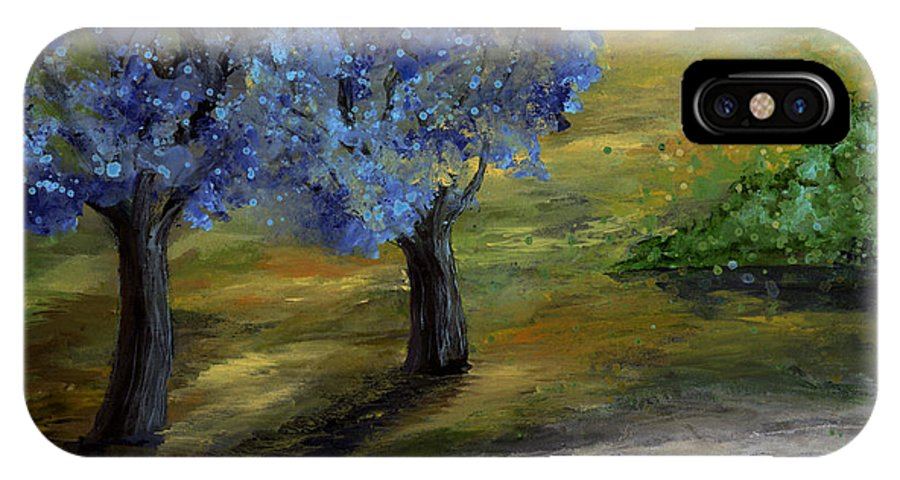 Trees IPhone Case featuring the painting Blue Trees by Laura Swink