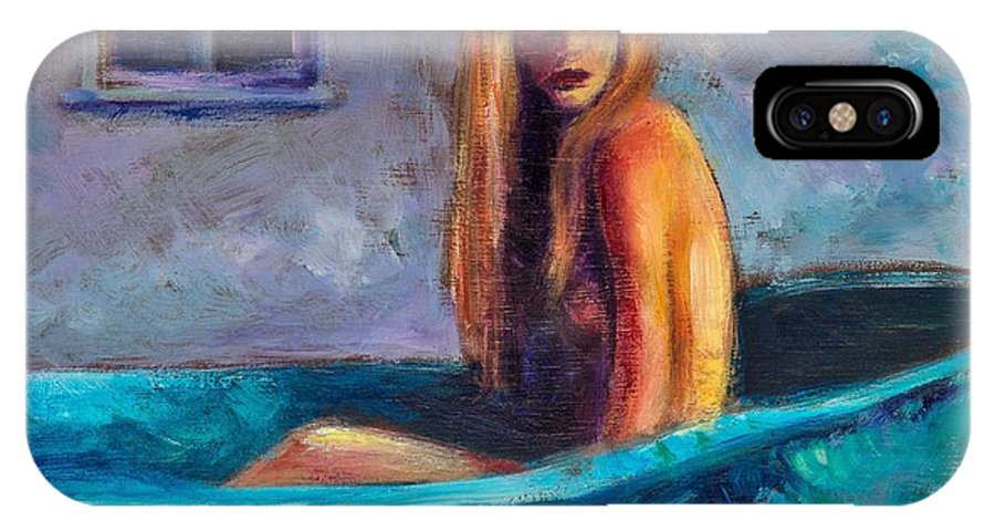 Nude IPhone X Case featuring the painting Blue Tub Study by Jason Reinhardt
