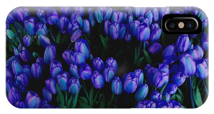 Blue IPhone X Case featuring the photograph Blue Tulips by Tom Reynen
