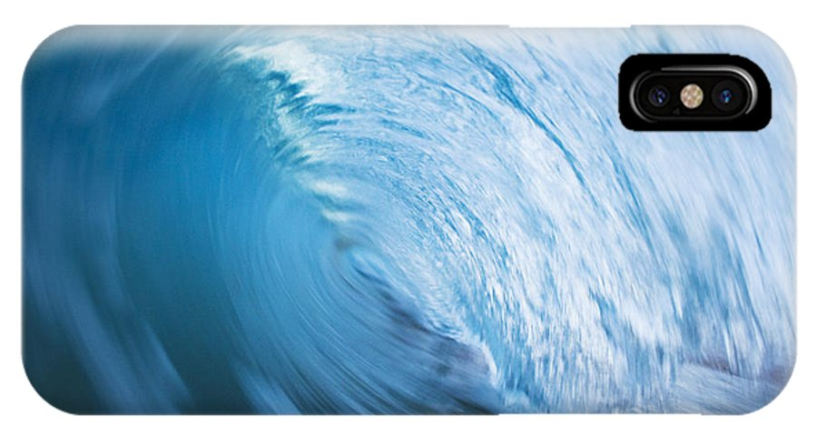 Abstract IPhone X Case featuring the photograph Blue Wave Tube Blur by MakenaStockMedia