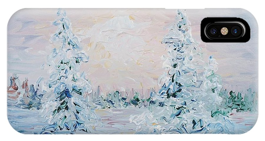 Landscape IPhone X Case featuring the painting Blue Winter by Nadine Rippelmeyer