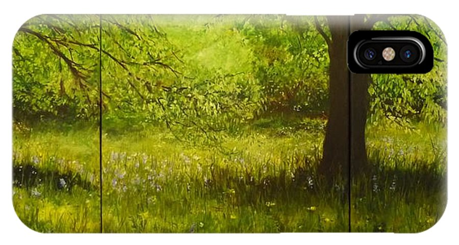 Tree IPhone X Case featuring the painting Bluebell Wood In Spring Triptych by Lizzy Forrester