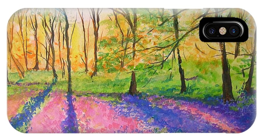 Landscape IPhone Case featuring the painting Bluebell Wood by Lizzy Forrester