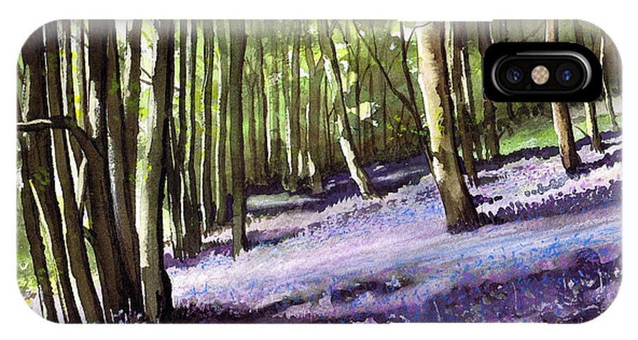 Woodland IPhone X Case featuring the painting Bluebells At Grimescar Wood by Paul Dene Marlor
