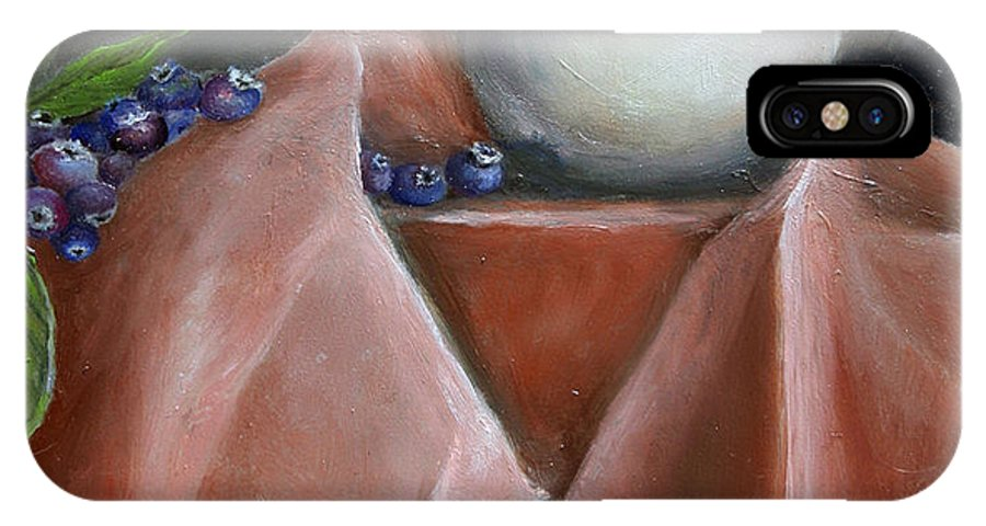 Blueberries IPhone Case featuring the painting Blueberries And Cream by Enzie Shahmiri