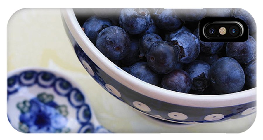 Still Life Of Fruit IPhone X Case featuring the photograph Blueberries And Spoon by Carol Groenen