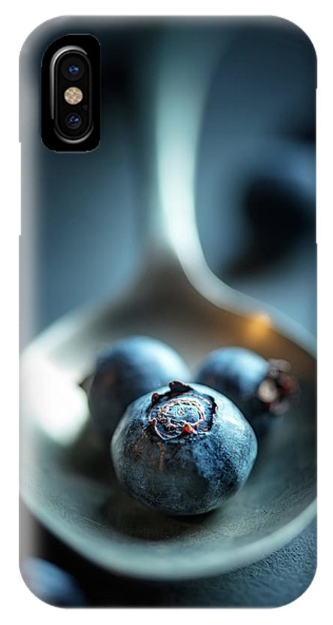 Blueberries IPhone X Case featuring the photograph Blueberries Macro Still Life by Johan Swanepoel
