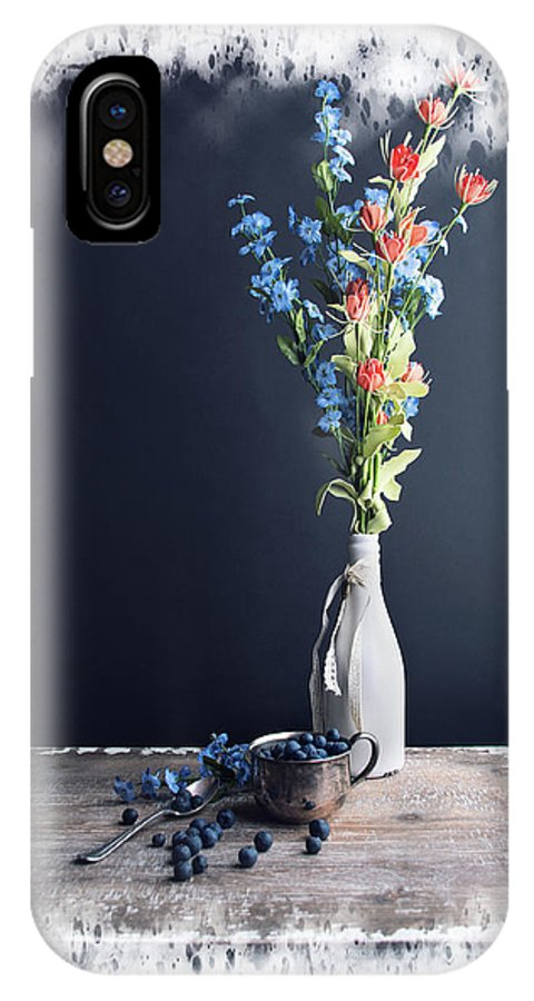 Texture IPhone X Case featuring the photograph Blueberry Table by Norma Warden