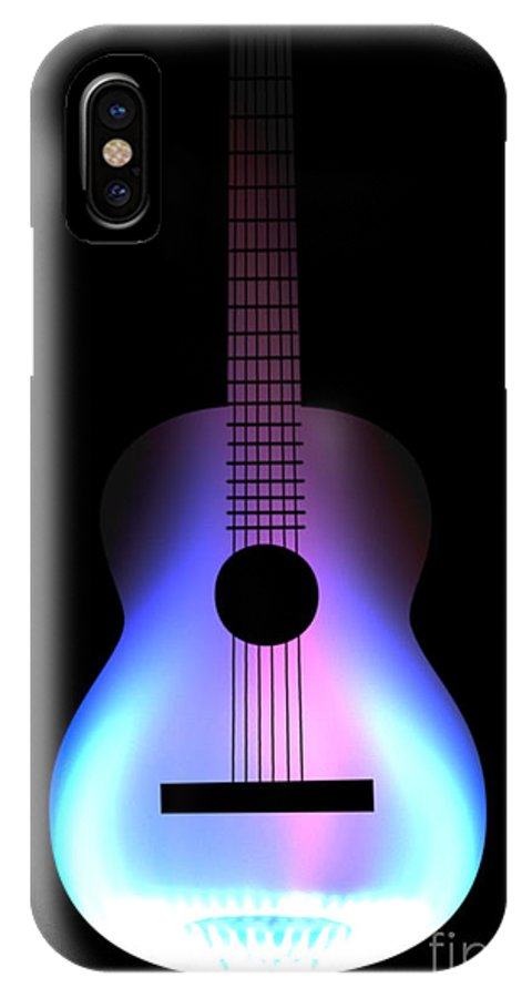 Acoustic Guitar IPhone X / XS Case featuring the digital art Blues Guitar On Fire by Andy Smy