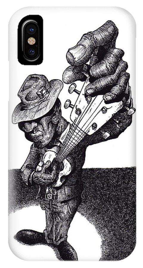 Blues IPhone X Case featuring the drawing Blues Guitar by Tobey Anderson