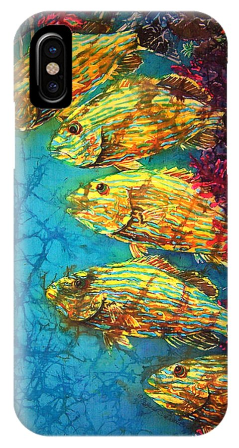 Bluestriped Grunts IPhone X Case featuring the painting Bluestriped Grunts by Sue Duda
