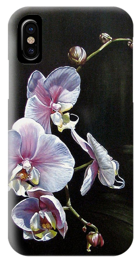 Orchid IPhone Case featuring the painting Blushing by Joan Garcia