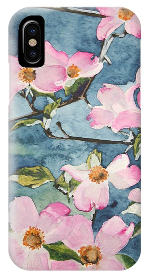 Flowers IPhone X Case featuring the painting Blushing Prettily by Jean Blackmer