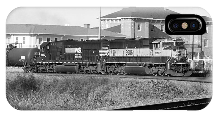 Bnsf IPhone X Case featuring the photograph Bnsf Locomotive On Ns 192 Bw by Joseph C Hinson Photography