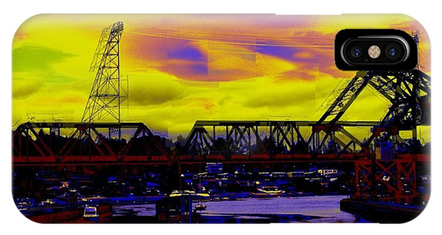 Seattle IPhone X Case featuring the photograph Bnsf Trestle At Salmon Bay by Tim Allen