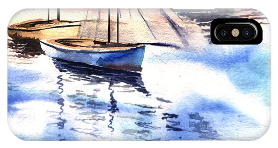 Watercolor IPhone X Case featuring the painting Boat And The River by Anil Nene