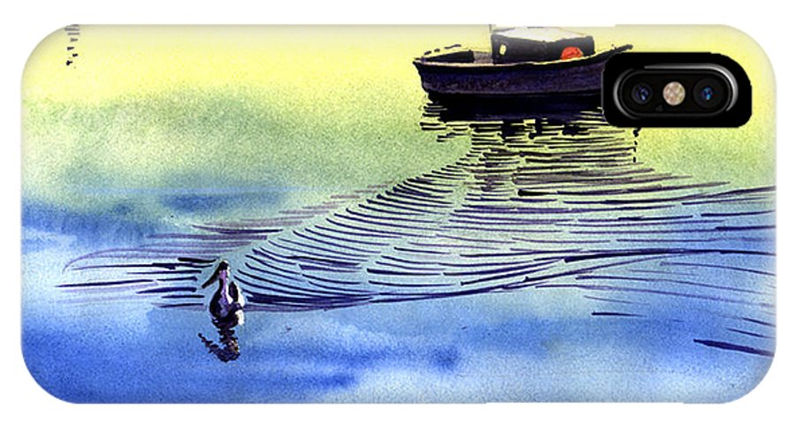 Watercolor IPhone Case featuring the painting Boat And The Seagull by Anil Nene