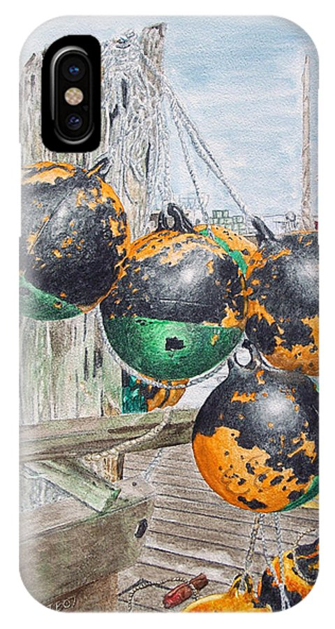 Boat Bumpers IPhone X Case featuring the painting Boat Bumpers by Dominic White