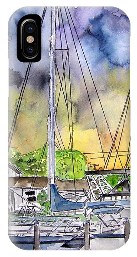 Marina IPhone X Case featuring the painting Boat Marina by Derek Mccrea
