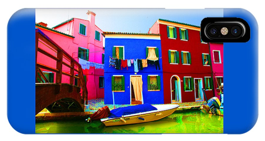 Burano IPhone Case featuring the pastel Boat Matching House by Donna Corless