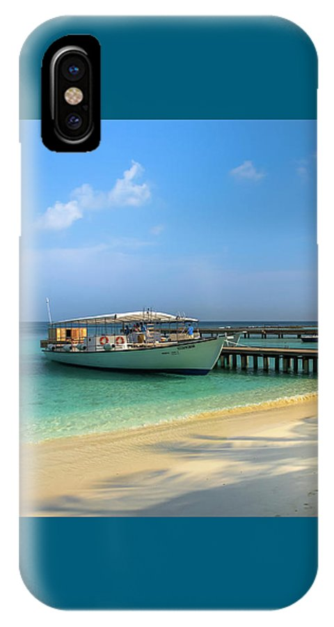Boat On Tropical Island IPhone X Case featuring the photograph Boat On A Tropical Island by Yana Reint