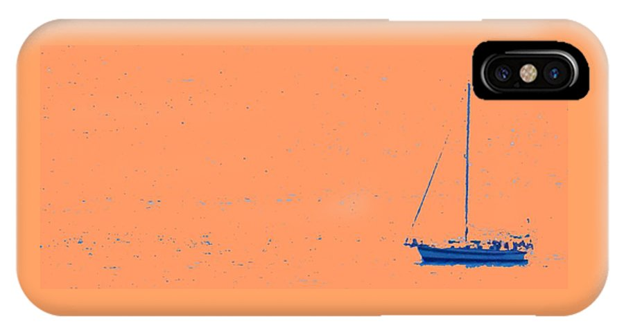 Boat IPhone X Case featuring the photograph Boat On An Orange Sea by Ian MacDonald