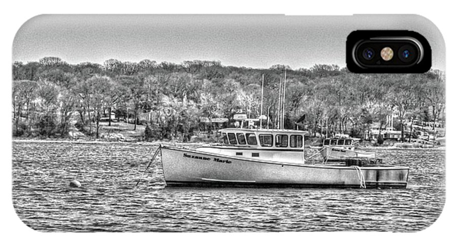Lobster Boat Mount Sinai Harbor Li.ny IPhone X Case featuring the photograph Lobster Boat Mount Sinai Harbor Li.ny by Terry McCarrick
