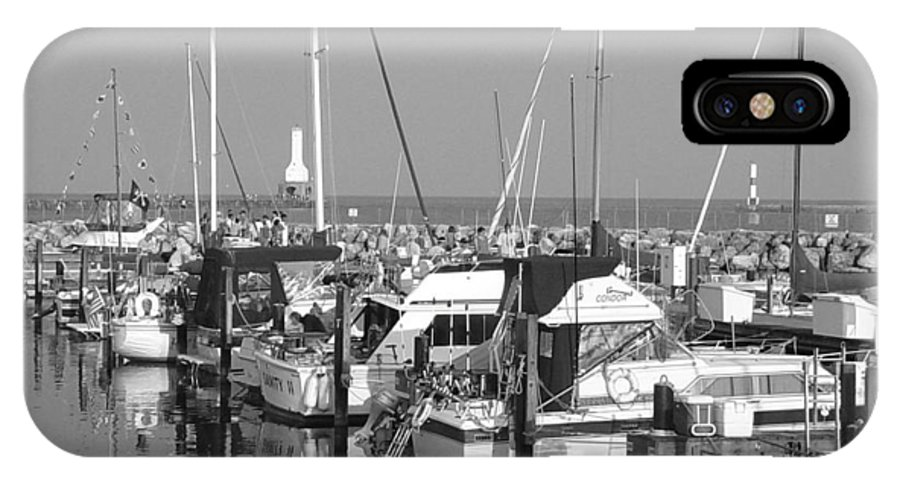 Sailboats IPhone X Case featuring the photograph Boats And Reflections B-w by Anita Burgermeister