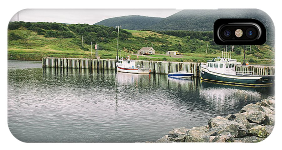 Boats IPhone X Case featuring the photograph Boats Docked In Harbor Cape Bretton Island ,, Nova Scotia by Nick Jene