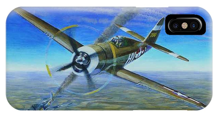 Bob Johnsons P-47 On October 10 IPhone X Case featuring the painting Bob Johnsons Thunderbolt by Scott Robertson